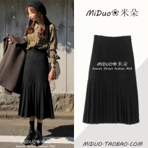 skirt Winter of 2018 S,M,L,XL black Mid length dress commute High waist other Solid color Type A 18-24 years old 1037# 51% (inclusive) - 70% (inclusive) other Other / other Korean version