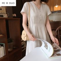 Dress Summer 2020 white S,M,L,XL longuette singleton  Short sleeve commute V-neck High waist Solid color Three buttons A-line skirt routine Others 18-24 years old Type A Other / other Korean version 51% (inclusive) - 70% (inclusive) hemp