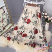 skirt Autumn 2020 Average size Apricot, black Mid length dress commute High waist A-line skirt Type A Embroidery, gauze Korean version