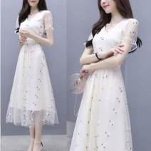 Dress Summer 2021 Black, white S,M,L,XL,2XL,3XL Mid length dress singleton  Short sleeve commute V-neck routine Type A Korean version More than 95%