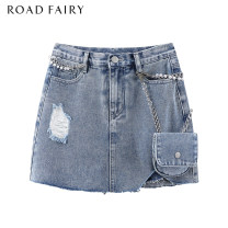 skirt Spring 2021 XS,S,M blue Short skirt Versatile High waist A-line skirt Solid color Type A 25-29 years old 51% (inclusive) - 70% (inclusive) Yididisin cotton Nail bead, zipper, waist bag