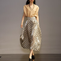 skirt Spring 2021 S,M,L,XL Wave point Mid length dress street High waist A-line skirt Dot Type A 30-34 years old LDQ2305 other Bright silk , Wave point Europe and America