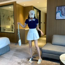 skirt Summer of 2019 Xs, s, m, l, XL, one size fits all White pleated skirt, Navy pleated skirt, black pleated skirt, gray pleated skirt, pink pleated skirt, white sweater, Navy knitwear Short skirt commute High waist Pleated skirt Solid color Type A 18-24 years old Fold, button, zipper