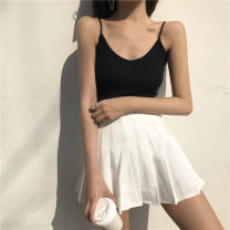 skirt Spring of 2019 XS,S,M,L,XL White, black, gray, Navy, pink Short skirt Versatile High waist Pleated skirt Solid color Type A 18-24 years old Fold, button, zipper