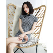 cheongsam Summer of 2019 S M L XL XXL Bouguer Short sleeve Short cheongsam grace High slit daily Oblique lapel lattice 18-25 years old Piping HLQ19088 Lotus love other Other 100% Pure e-commerce (online only)