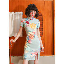 cheongsam Summer 2020 S M L XL XXL Short sleeve Short cheongsam Retro Low slit daily Oblique lapel Decor 18-25 years old Piping Lotus love other Other 100% Pure e-commerce (online only) 96% and above