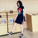 cheongsam Autumn of 2019 S M L XL XXL Umbrella beauty Mermaid Short sleeve Short cheongsam grace Low slit daily Oblique lapel character 18-25 years old Piping HLQ19206 Lotus love other Other 100% Pure e-commerce (online only)