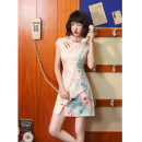 cheongsam Summer 2020 S M L XL XXL Fairy Palace Short sleeve Short cheongsam Retro Low slit daily Oblique lapel Decor 18-25 years old Piping HLQ20183 Lotus love other Other 100% Pure e-commerce (online only) 96% and above