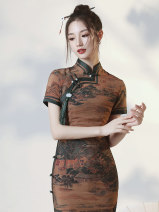 cheongsam Autumn 2020 S M L XL XXL XXXL River Map Short sleeve long cheongsam Retro Low slit daily Oblique lapel other 18-25 years old Piping HLQ20247 Lotus love other Other 100% Pure e-commerce (online only) 96% and above