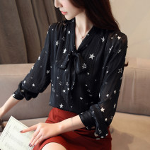 Lace / Chiffon Autumn of 2019 White, black, black [skirt] S,M,L,XL,2XL Long sleeves commute Socket singleton  easy have cash less than that is registered in the accounts V-neck Solid color shirt sleeve Bowknot, print, stitching, bandage, button Korean version 81% (inclusive) - 90% (inclusive)