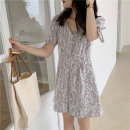 Dress Summer 2021 Yellow, pink Average size Short skirt singleton  Long sleeves commute V-neck Solid color A-line skirt routine Others Type A Korean version Button 31% (inclusive) - 50% (inclusive) cotton