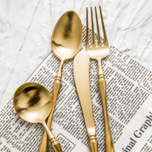 Spoon Set / fork chopsticks Chinese Mainland Metal Main knife (gold) dessert spoon (gold) main spoon (gold) main fork (gold) pre sale Lototo Self made pictures sixty-four thousand one hundred and ninety-one public Xiaoxinqing Japanese  restaurant Daily gift giving