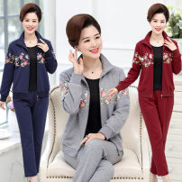 Middle aged and old women's wear Spring 2020 motion suit easy Two piece set other 40-49 years old Cardigan moderate square neck routine bishop sleeve Independent brand zipper Polyester, cotton zipper trousers