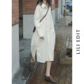 Dress Spring 2021 Light blue, apricot No code division Mid length dress singleton  Long sleeves Sweet Polo collar Loose waist Solid color Single breasted other raglan sleeve Others Type H LILI EDIT Patch, pocket, panel, button 91% (inclusive) - 95% (inclusive) other cotton Mori