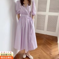 Dress Spring 2021 Rose red, white, purple, yellow Average size Mid length dress singleton  Short sleeve commute V-neck High waist Solid color Socket A-line skirt puff sleeve Others 18-24 years old Type X Other / other Korean version Frenulum 51% (inclusive) - 70% (inclusive) cotton