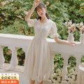 Dress Summer 2021 Apricot S,M,L,XL longuette singleton  Short sleeve commute Doll Collar High waist Solid color Socket A-line skirt Petal sleeve Others 18-24 years old Type X Other / other Korean version Lace, lace x3122 51% (inclusive) - 70% (inclusive) cotton