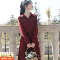Dress Spring 2021 Red, blue, black, apricot, pink S,M,L,XL Mid length dress singleton  Long sleeves commute Polo collar High waist Solid color Single breasted A-line skirt other Others 18-24 years old Type A Other / other Korean version Bowknot, pocket, lace up, stitching, bandage other cotton