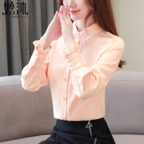 Lace / Chiffon Autumn of 2019 Blue, red, pink, red [Plush], blue [Plush], pink [Plush], black [skirt] S,M,L,XL,2XL Long sleeves commute Cardigan singleton  easy Regular Doll Collar Solid color shirt sleeve Stitching, buttons, lace Korean version
