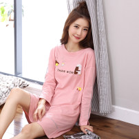 Nightdress L XL XXL M XXXL Simplicity Long sleeves Leisure home Middle-skirt summer Solid color youth Crew neck cotton printing pure cotton Summer 2020 Cotton 95% polyester 5% Pure e-commerce (online only)