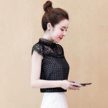 Lace / Chiffon Summer 2020 Picture color, black [skirt] S,M,L,XL,2XL Short sleeve commute Socket singleton  easy Regular Crew neck lattice routine 25-29 years old Pleating, pleating, stitching, asymmetry, lace Korean version 81% (inclusive) - 90% (inclusive) polyester fiber