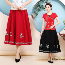 skirt Spring of 2019 Average size Red, black longuette commute A-line skirt Solid color Type A 31% (inclusive) - 50% (inclusive) Other / other hemp Embroidery ethnic style