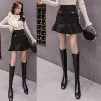 skirt Winter 2020 S,M,L,XL black Short skirt Ruffle Skirt Solid color Type A 8020-L other Already