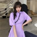 Dress Spring 2021 White, purple S,M,L Mid length dress singleton  Short sleeve commute Polo collar High waist Solid color Socket A-line skirt routine 18-24 years old Type A Korean version Button 81% (inclusive) - 90% (inclusive) polyester fiber