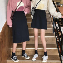 skirt Spring 2021 S,M,L Short skirt Versatile High waist A-line skirt Solid color Type A 18-24 years old