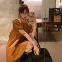Dress Summer 2021 Black, dirty orange Average size Short skirt singleton  Short sleeve commute Crew neck Loose waist Solid color Socket A-line skirt puff sleeve 18-24 years old Korean version Embroidery