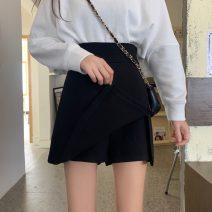 skirt Spring 2021 S,M,L black Short skirt Versatile High waist A-line skirt Solid color Type A 18-24 years old zipper