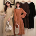 Dress Spring 2021 Apricot, black, caramel, card Average size Mid length dress singleton  Long sleeves commute Crew neck High waist Solid color Single breasted A-line skirt routine 18-24 years old Type A Korean version Button