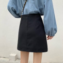 skirt Spring 2021 S,M,L black Short skirt commute High waist A-line skirt Solid color Type A 18-24 years old Bandage Korean version