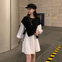 Dress Spring 2021 Black and white Average size Short skirt Fake two pieces Long sleeves commute Crew neck Loose waist Socket routine 18-24 years old Korean version Splicing