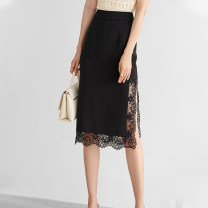 skirt Spring 2021 S,M,L,XL,2XL black Mid length dress commute High waist A-line skirt Solid color Type H tb-1Q21BI1748-0417 More than 95% other Mapping / Mapin other pocket