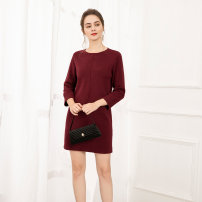 Dress Spring 2021 Red (243) S M L XL XXL longuette singleton  Long sleeves commute Crew neck middle-waisted Solid color Socket A-line skirt routine 25-29 years old Type A Rabbit warm / Raven lady Splicing B160616 More than 95% other Rabbit hair 100%