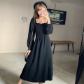Dress Winter 2020 black M L XL XXL longuette singleton  Long sleeves commute square neck Loose waist Solid color Socket A-line skirt routine 18-24 years old Type A Wanyan Korean version More than 95% polyester fiber Polyester 100% Exclusive payment of tmall