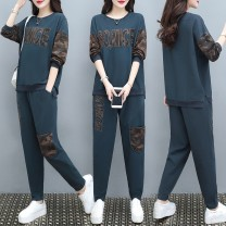 Casual suit Autumn 2020 Gray blue L [within 110 kg] XL [110-125 kg] 2XL [125-140 kg] 3XL [140-160 kg] 4XL [160-180 kg] 25-35 years old 1179 real shot pure cotton Albelperry / Yabao Feili 96% and above cotton Other 100.00% Pure e-commerce (online only)