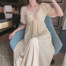 Dress Summer 2021 Picture color S M L XL Mid length dress singleton  Short sleeve Sweet square neck middle-waisted Solid color Socket other puff sleeve Others 25-29 years old Love orchid More than 95% other Other 100% Mori Pure e-commerce (online only)