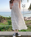 Dress Summer 2021 white S M L XL longuette singleton  Sleeveless commute square neck Loose waist Solid color Socket routine camisole 18-24 years old Love orchid Korean version backless More than 95% Chiffon other Other 100% Pure e-commerce (online only)