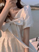 Dress Summer 2021 Milky white S M L XL Mid length dress singleton  Short sleeve commute V-neck middle-waisted Solid color Socket other puff sleeve Others 18-24 years old Love orchid Korean version More than 95% other other Other 100% Pure e-commerce (online only)