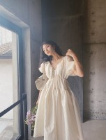 Dress Summer 2021 white S M L XL Mid length dress singleton  Short sleeve commute V-neck High waist Solid color Socket A-line skirt puff sleeve Others 18-24 years old Love orchid Korean version More than 95% other other Other 100% Pure e-commerce (online only)