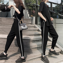Casual pants S M L XL 2XL black Summer of 2018 Cropped pants High waist Harem pants Thin section street one thousand one hundred and thirty pocket Sports and leisure