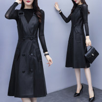 Dress Spring 2021 Picture color S,M,L,XL,2XL Mid length dress Two piece set Long sleeves commute Crew neck High waist Solid color Socket A-line skirt routine straps 30-34 years old Type A Korean version JBEGD341B/9168134141 More than 95% other other