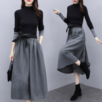 Dress Spring 2021 black S,M,L,XL,2XL Mid length dress Two piece set Long sleeves commute Half high collar High waist Solid color zipper A-line skirt routine straps 30-34 years old Type A Retro More than 95% other other