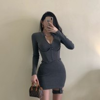 Dress Autumn 2020 Black, gray S,M,L Short skirt singleton  Long sleeves other Solid color other routine Others knitting