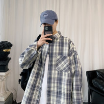 shirt Youth fashion Others M. L, s, XL, 2XL, 3XL, XS plus small, 4XL, 5XL Blue grid, gray grid routine square neck Long sleeves easy Other leisure spring youth Polyester 100% tide 2021 lattice Plaid No iron treatment other Button decoration Easy to wear