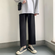 Casual pants Others Fashion City Black, light grey S. M, l, XL, 2XL, 3XL, XS plus small thin Ninth pants Travel? easy Micro bomb Four seasons teenagers Japanese Retro 2020 middle-waisted Straight cylinder Sports pants Three dimensional tailoring No iron treatment Solid color Terry cloth cotton cotton