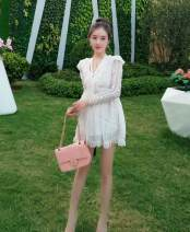 Casual pants Wide leg pants High waist 81% (inclusive) - 90% (inclusive) 116 nylon Ruili shorts Summer 2021 routine Sweet Goyna 25-29 years old other Lace stitching S,M,L white