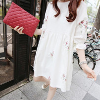 Dress Other / other white M,L,XL,XXL Korean version elbow sleeve routine summer Crew neck Hand painted polyester fiber