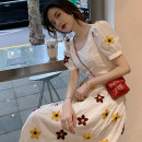 Dress Summer 2021 Graphic skirt XS S M L XL Mid length dress singleton  Short sleeve commute square neck High waist other Socket A-line skirt routine Others 18-24 years old Shaxu Korean version 71% (inclusive) - 80% (inclusive) other polyester fiber Polyester 80% other 20%